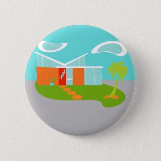 Mid Century Modern Cartoon House Round Button