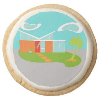 Mid Century Modern Cartoon House Shortbread Cookie