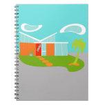 Mid Century Modern Cartoon House Spiral Notebook