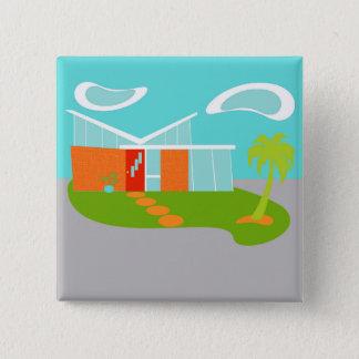 Mid Century Modern Cartoon House Square Button