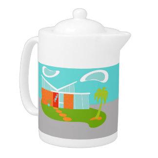 Mid Century Modern Cartoon House Teapot