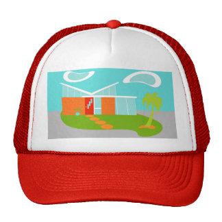 Mid Century Modern Cartoon House Trucker Hat