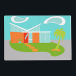 "Mid Century Modern Cartoon Laminated Placemat<br><div class=""desc"">This Customizable Mid Century Modern Cartoon House Laminated Placemat will have you wanting to put out the WELCOME mat and make yourself at home! The 1960&#39;s, minimalist art design features a sleek, orange stone and aqua glass house on a lush, green, boomerang shaped lawn. The lawn forms an oasis in...</div>"