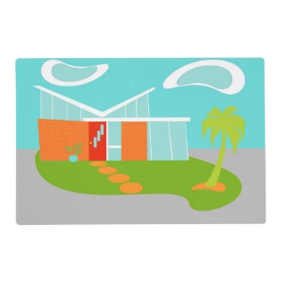 Mid Century Modern Cartoon Laminated Placemat at Zazzle