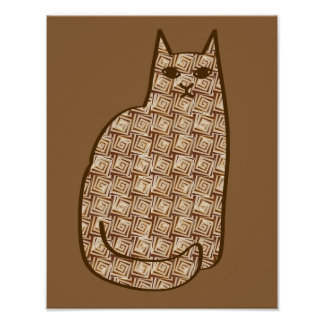 Mid-Century Modern Cat, Beige and Light Brown Poster