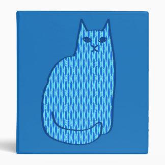 Mid-Century Modern Cat, Cobalt and Light Blue Binder