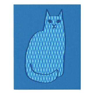 Mid-Century Modern Cat, Cobalt and Light Blue Faux Canvas Print