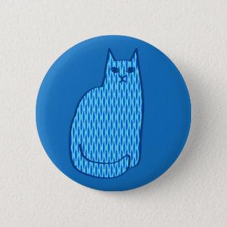 Mid-Century Modern Cat, Cobalt and Light Blue Pinback Button