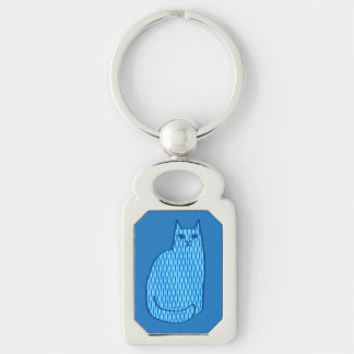 Mid-Century Modern Cat, Cobalt and Light Blue Silver-Colored Rectangular Metal Keychain