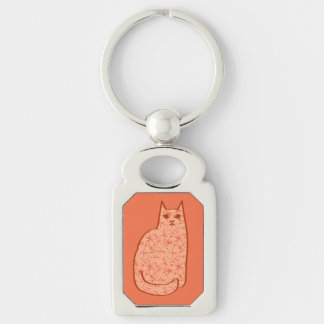 Mid-Century Modern Cat, Coral Orange and White Keychain