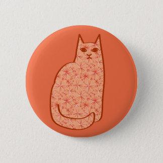 Mid-Century Modern Cat, Coral Orange and White Pinback Button