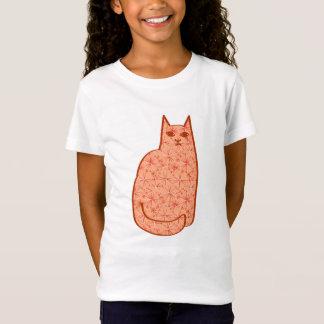 Mid-Century Modern Cat, Coral Orange and White T-Shirt