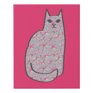Mid-Century Modern Cat, Gray / Grey and Pink Faux Canvas Print