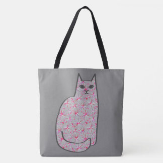 Mid-Century Modern Cat, Gray / Grey and Pink Tote Bag