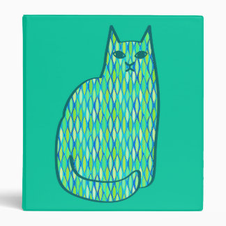 Mid-Century Modern Cat, Mint and Lime Green Binder