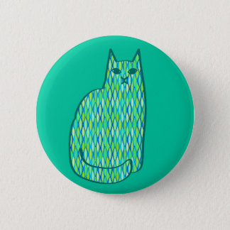 Mid-Century Modern Cat, Mint and Lime Green Pinback Button