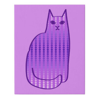 Mid-Century Modern Cat, Orchid and Purple Faux Canvas Print