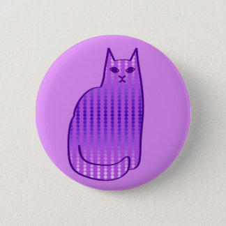 Mid-Century Modern Cat, Orchid and Purple Pinback Button