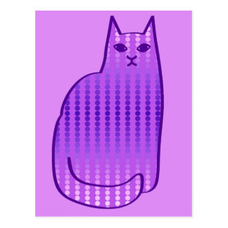 Mid-Century Modern Cat, Orchid and Purple Postcard