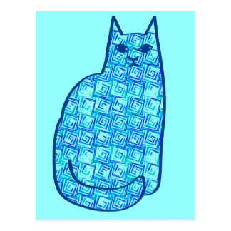 Mid-Century Modern Cat, Turquoise and Navy Postcard