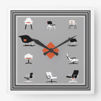 Mid Century Modern Chairs Retro Colors Square Wall Clock