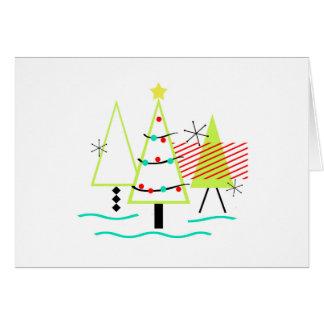 mid century modern christmas trees retro card