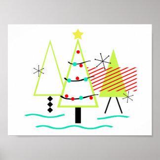 mid century modern christmas trees retro poster