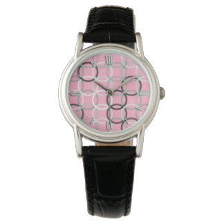 Mid-Century Modern circles, coral pink and grey Watch