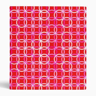 Mid-Century Modern circles, dark red and pink Binder