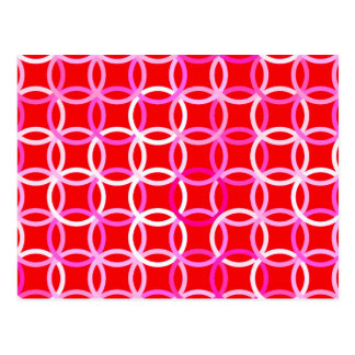 Mid-Century Modern circles, dark red and pink Postcard