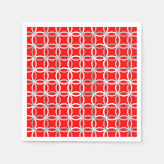 Mid-Century Modern circles, deep red and grey Paper Napkin