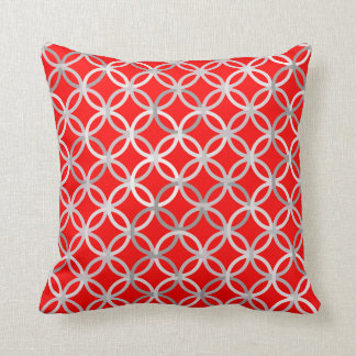 Mid-Century Modern circles, deep red and grey Throw Pillows