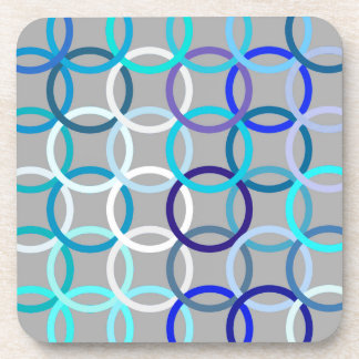Mid-Century Modern circles, grey, blue and white Beverage Coaster