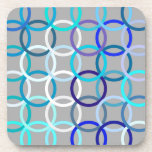 Mid-Century Modern circles, grey, blue and white Drink Coasters
