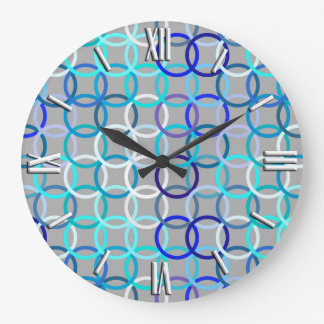 Mid-Century Modern circles, grey, blue and white Large Clock