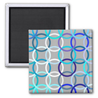 Mid-Century Modern circles, grey, blue and white Magnet