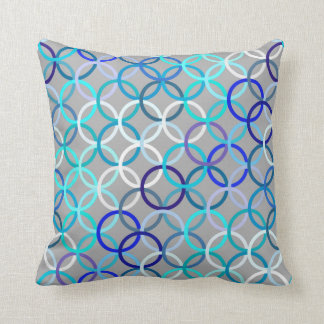Mid-Century Modern circles, grey, blue and white Throw Pillow