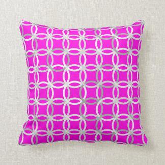 Mid-Century Modern circles, magenta, gray & white Throw Pillows
