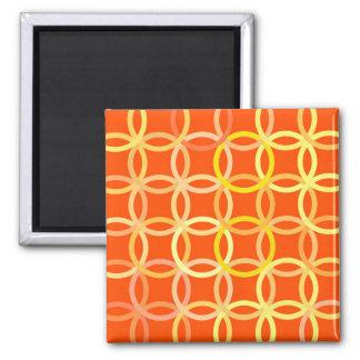 Mid-Century Modern circles, mandarin orange Magnet