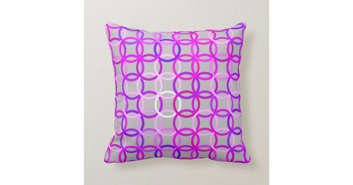 Modern Pink Pillow : Mid-Century Modern circles, pink, violet and gray Throw Pillow Zazzle