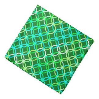 Mid-Century Modern circles, shades of green Bandana