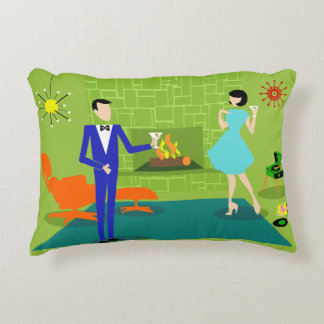 Mid Century Modern Couple Accent Pillow