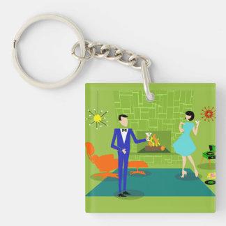 Mid Century Modern Couple Acrylic Keychain