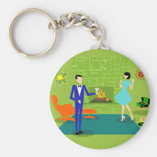 Mid Century Modern Couple Button Keychain