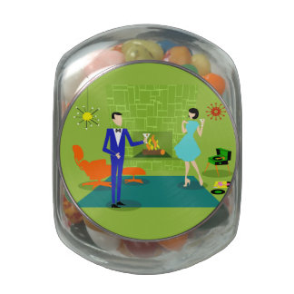 Mid Century Modern Couple Can Jar Glass Jar