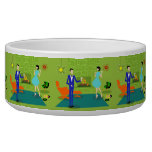 Mid Century Modern Couple Ceramic Pet Bowl