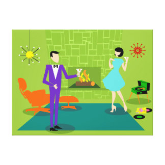 Mid Century Modern Couple Custom Stretched Canvas