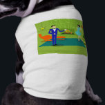 """Mid Century Modern Couple Dog T-Shirt<br><div class=""""desc"""">This Mid Century Modern Couple Dog T-Shirt looks like a scene out of a romantic comedy. The 1960&#39;s style, minimalist art design features an attractive cartoon couple enjoying a romantic evening at home. The sophisticated room prominently features a green stone wall with a roaring fire in the fireplace. The furnishings...</div>"""