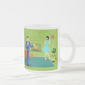 Mid Century Modern Couple Frosted Glass Mug