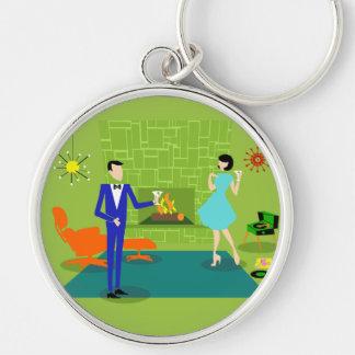Mid Century Modern Couple Keychain